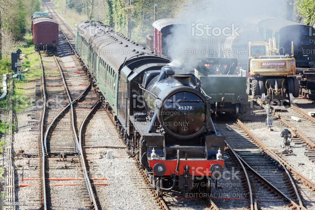 Steam train on the Watercress Line in the UK stock photo
