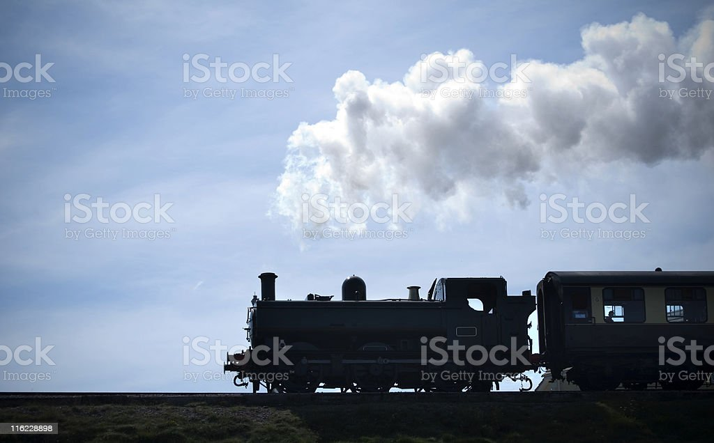 Steam train silhouette royalty-free stock photo