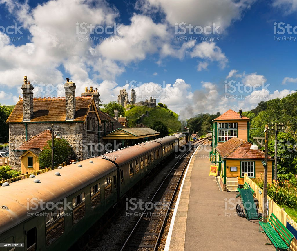 Steam Trains at Corfe Castle Station stock photo