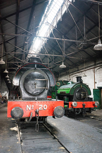 Steam trains in shed stock photo