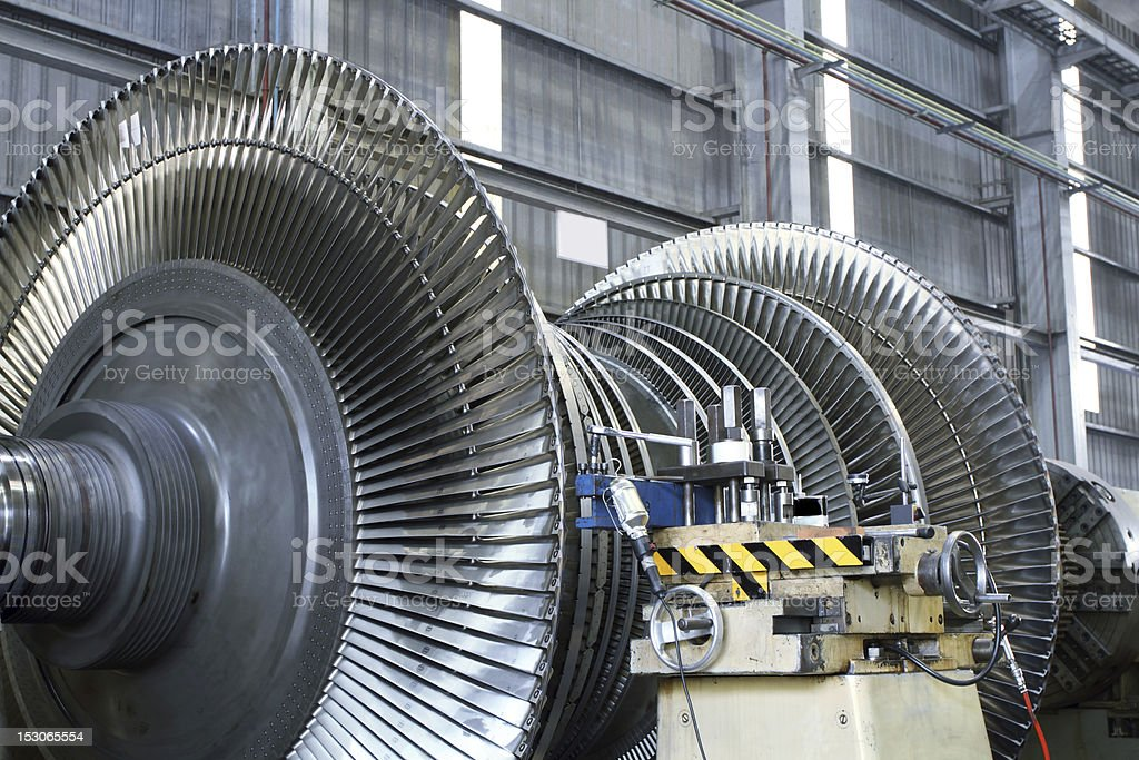 Steam Turbine at workshop stock photo