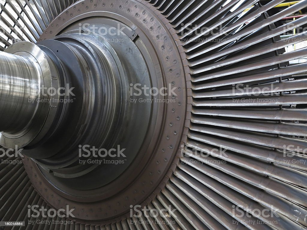 Steam turbine during repair at power plant royalty-free stock photo