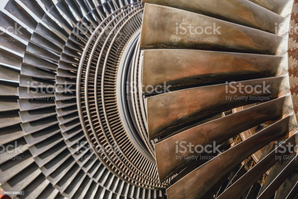steam turbine metal blade use in power station or jet engine stock photo