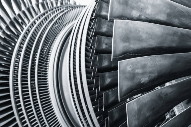 steam turbine metal blade use in power station or jet engine steam turbine metal blade use in power station or jet engine turbine stock pictures, royalty-free photos & images