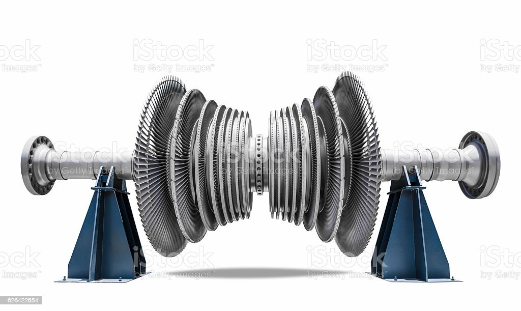 Steam turbine of thermal power plant isolated white background stock photo