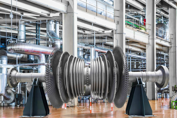 Steam turbine of thermal power plant Steam turbine of thermal power plant turbine stock pictures, royalty-free photos & images