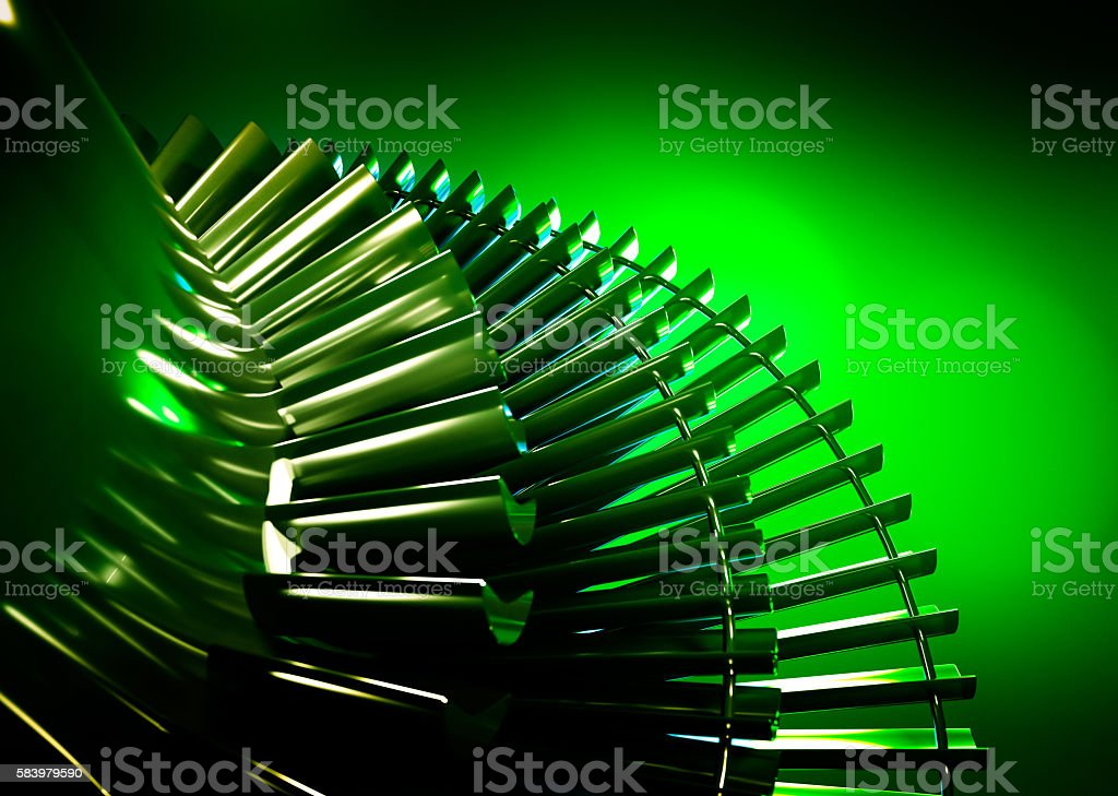Steam turbine on green background. stock photo
