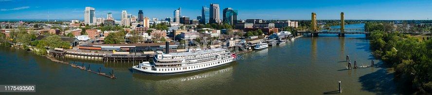 The panoramic aerial view of Sacramento Downtown, California.