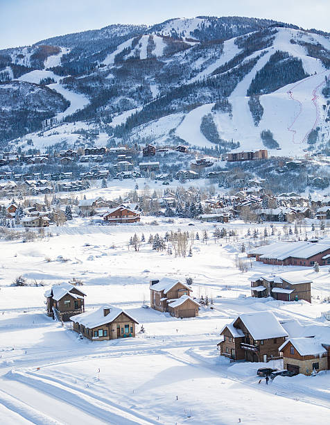 Steamboat Colorado winter Steamboat springs, colorado town from a hot air ballon midair. steamboat springs stock pictures, royalty-free photos & images