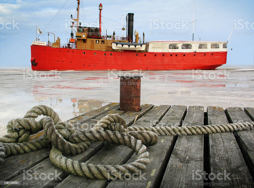 steamboat leaving harbor royalty-free stock photo