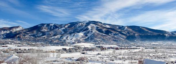 Steamboat Ski Area Beautiful view of ski mountain steamboat springs stock pictures, royalty-free photos & images