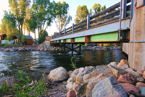 Steamboat Springs, Colorado Campground Bridge Steamboat Springs, Colorado Campground Bridge  steamboat springs stock pictures, royalty-free photos & images