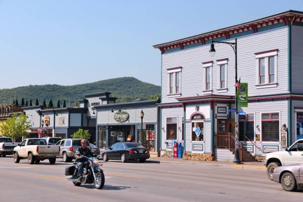 Steamboat Springs, Colorado People visit downtown Steamboat Springs, Colorado. Steamboat Springs is a popular tourism destination and skiing resort in Colorado. steamboat springs stock pictures, royalty-free photos & images