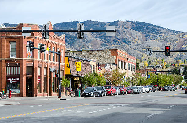 Steamboat Springs, Colorado Steamboat Springs, Colorado, USA - October 9, 2015: Main Street runs through the town of Frisco, Colorado which was established in 1900 and built during the ranching and mining boom. Today, the city is an internationally known winter ski resort destination. The Steamboat Springs tourism industry is highlighted by Steamboat Ski Resort, which is on Mount Werner in the Park Range just east of the town. It also contains the much smaller Howelsen Ski Area. The town attracts many visitors each year and offers many shops and restaurants. Steamboat is home to natural hot springs that are located throughout the area. steamboat springs stock pictures, royalty-free photos & images
