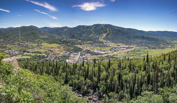 Steamboat Springs Panorama Panoramic view of the ski resort town of Steamboat Springs Colorado in the summer steamboat springs stock pictures, royalty-free photos & images