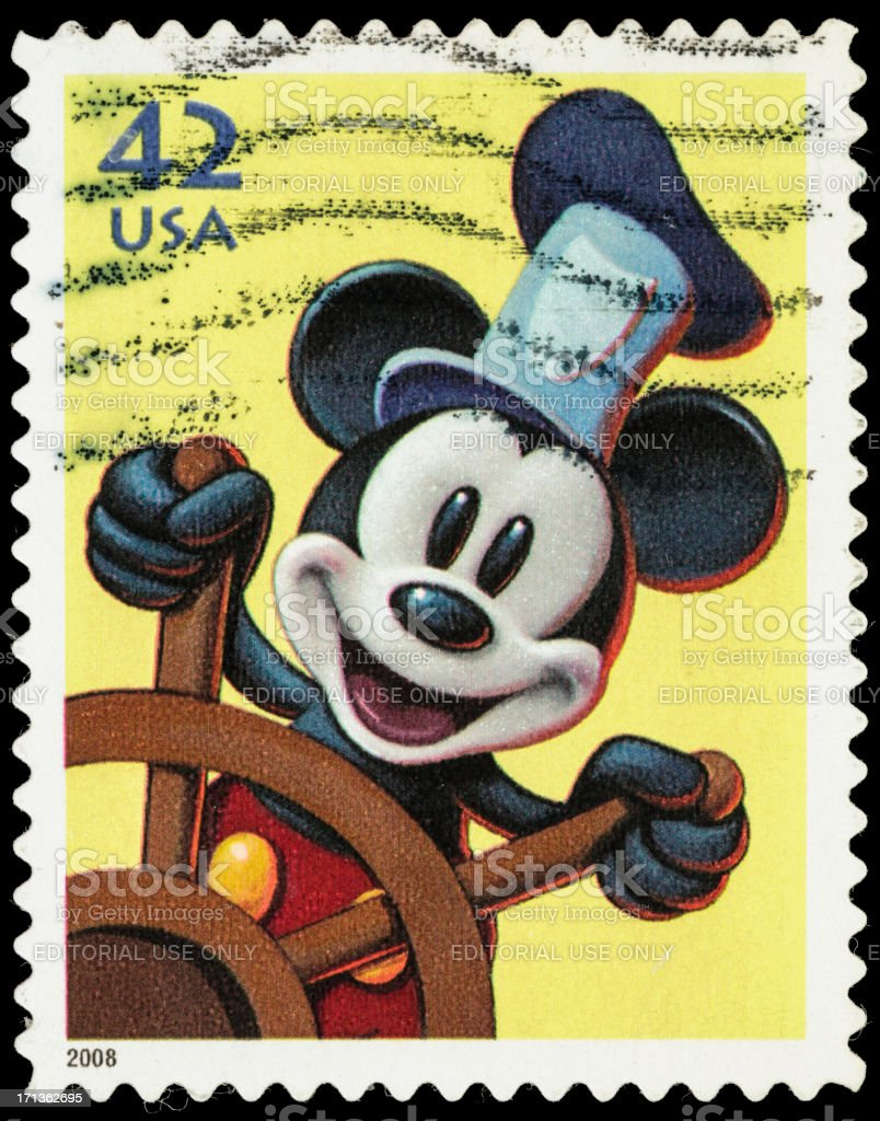 USA Steamboat Willies Mickey Mouse Postage Stamp Royalty Free Stock Photo