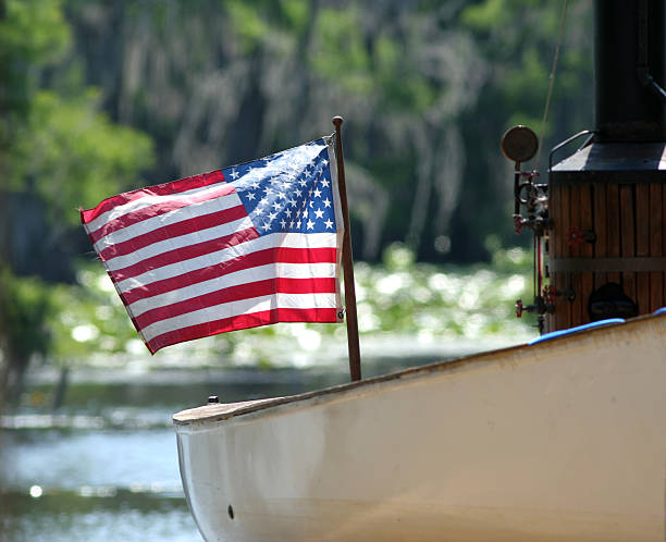 Steamboat with Flag stock photo