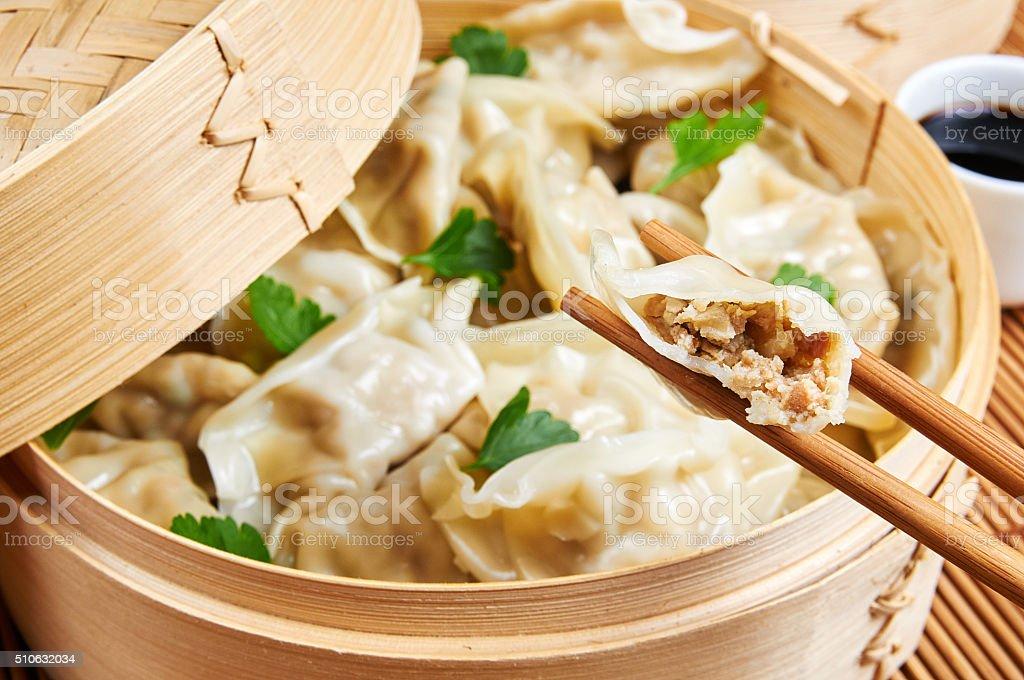 Steamed Asian Dumplings Dumplings Filled With Vegetables Stock Photo