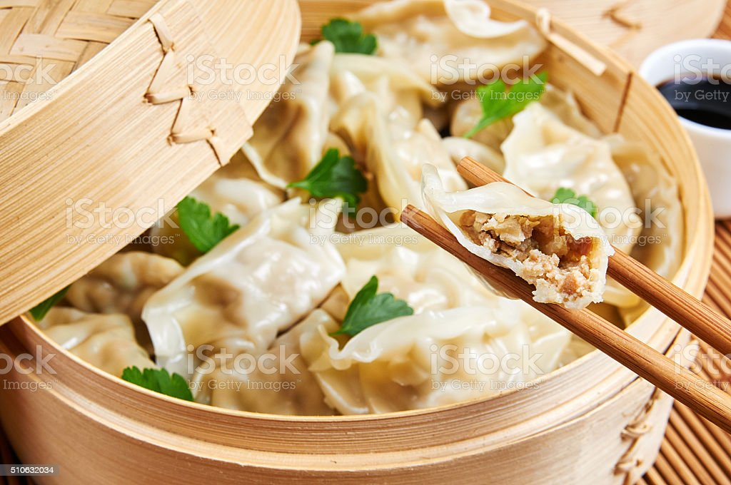Steamed asian dumplings. Dumplings filled with vegetables stock photo