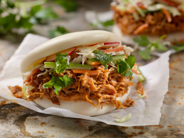 Steamed Bao Buns with Pulled Pork stock photo
