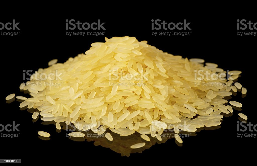 Steamed basmati rice isolated on black stock photo