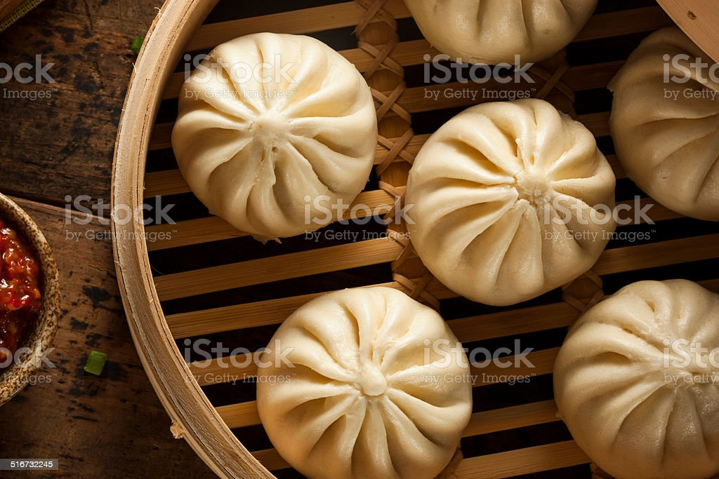 Steamed BBQ Pork Asian Buns stock photo