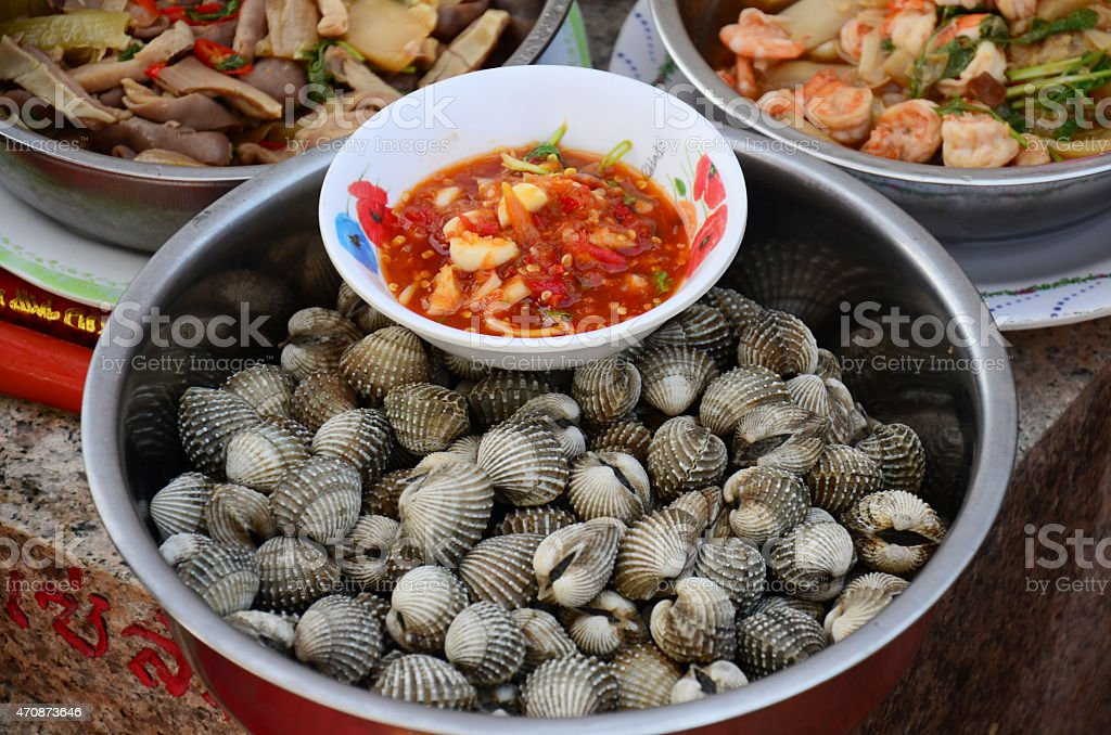 Steamed Blood cockle Shell Sacrificial offering stock photo
