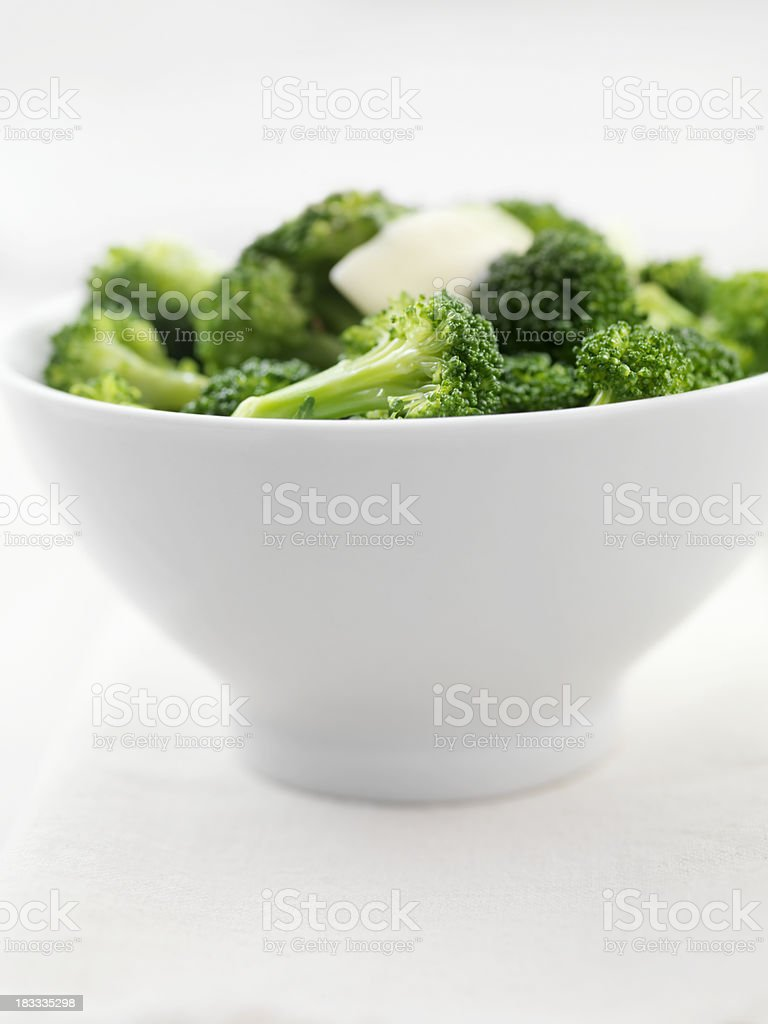 Steamed Broccoli with Melting Butter royalty-free stock photo