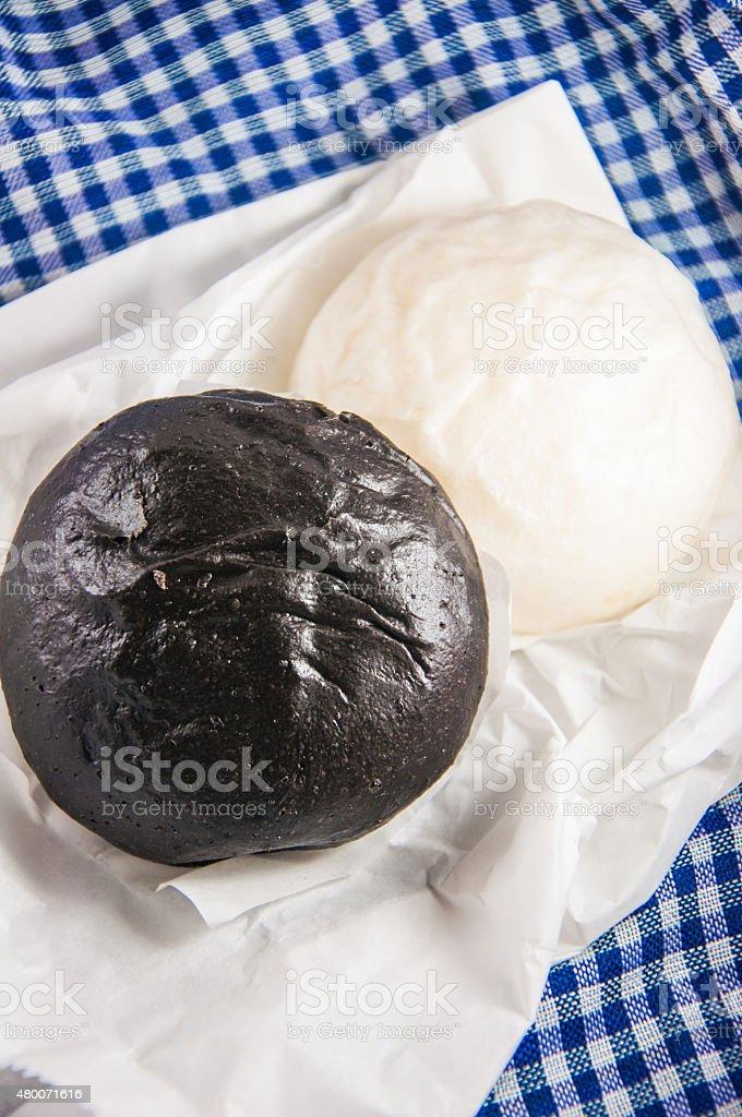 Steamed bun-black and white stock photo