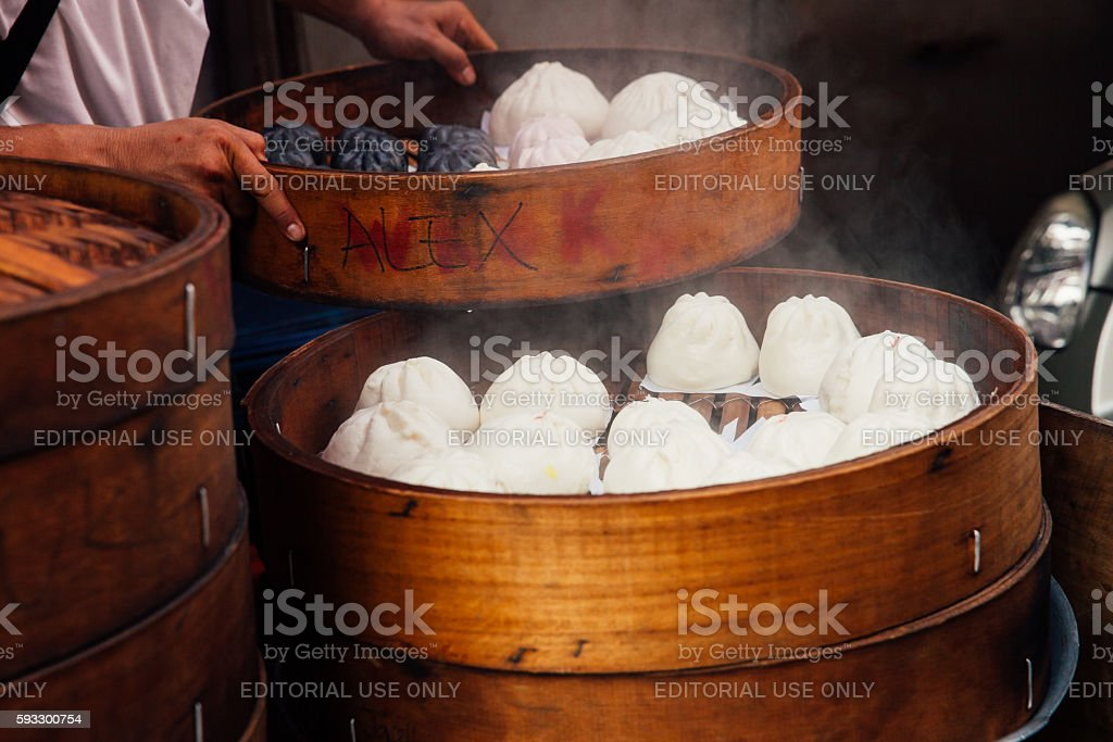 Steamed buns food stall in Chinatown, Kuala Lumpur, Malaysia stock photo