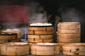 Chinese steamed buns in a street food store