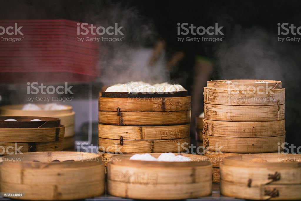 Steamed buns stock photo