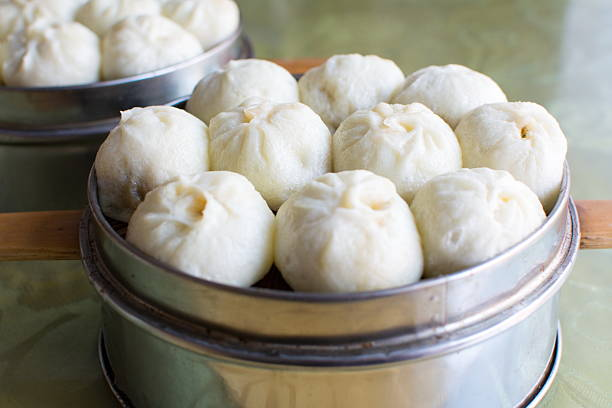 Steamed Chinese Meat Buns Baozi stock photo