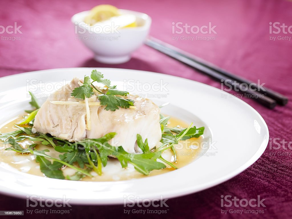 Steamed Cod stock photo