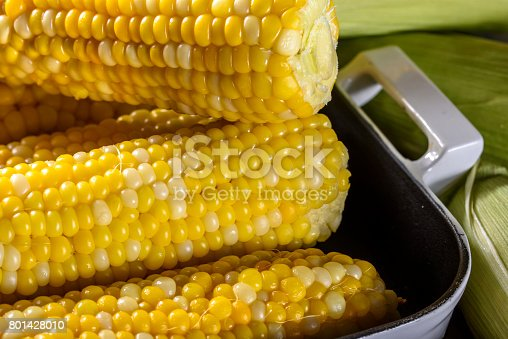 Delicious steamed corn on the cob