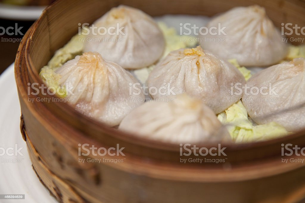 Steamed crab meat pork buns (Xiaolongbao小籠包) - Royalty-free Bamboo - Material Stock Photo