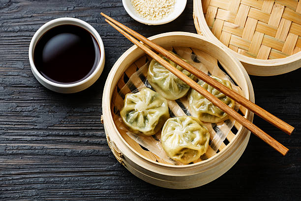 steamed dumplings dim sum - chinese food stock photos and pictures