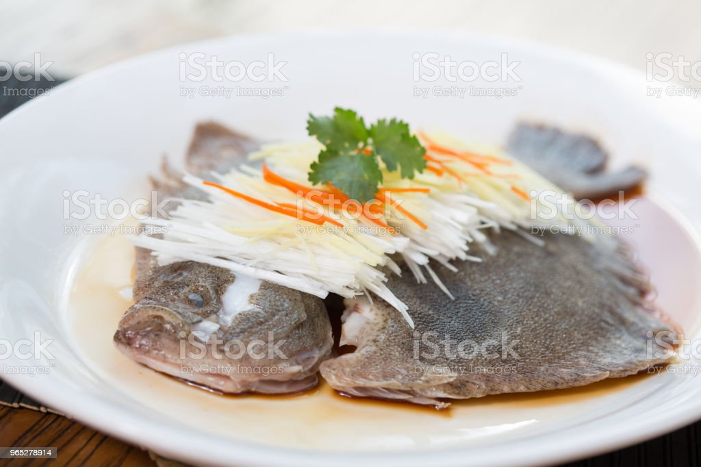 Steamed fish & chopped scallion royalty-free stock photo