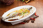 Chinese traditional cooking, steamed fish