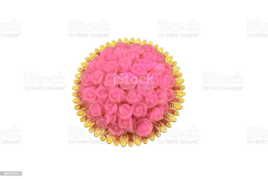 Steamed Layer Sweet Cake look like pink roses on tray with pedestal isolated on white background stock photo