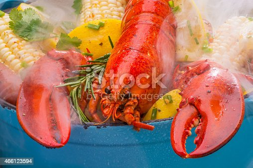 Steamed lobster and vegetables in a hot steaming pot on a barbecue grill