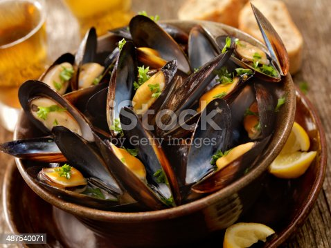 Steamed Mussels with Fresh Parsley, Bread and a Couple of Beers -Photographed on Hasselblad H3D2-39mb Camera