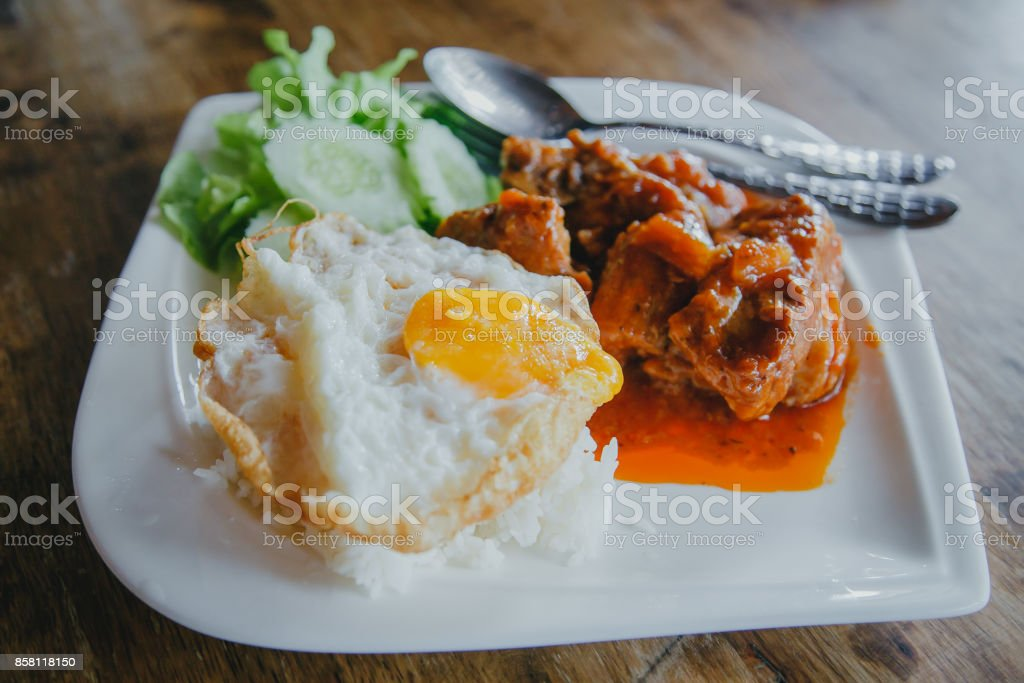 steamed pork and rice stock photo