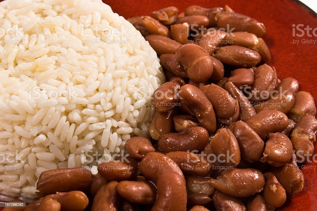 Steamed rice and beans stock photo