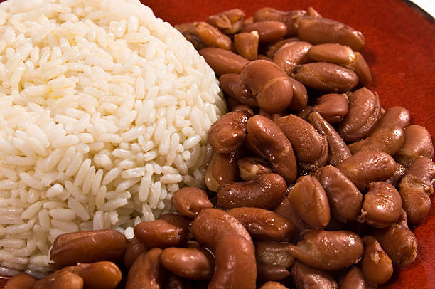 steamed rice and beans - bean stock photos and pictures