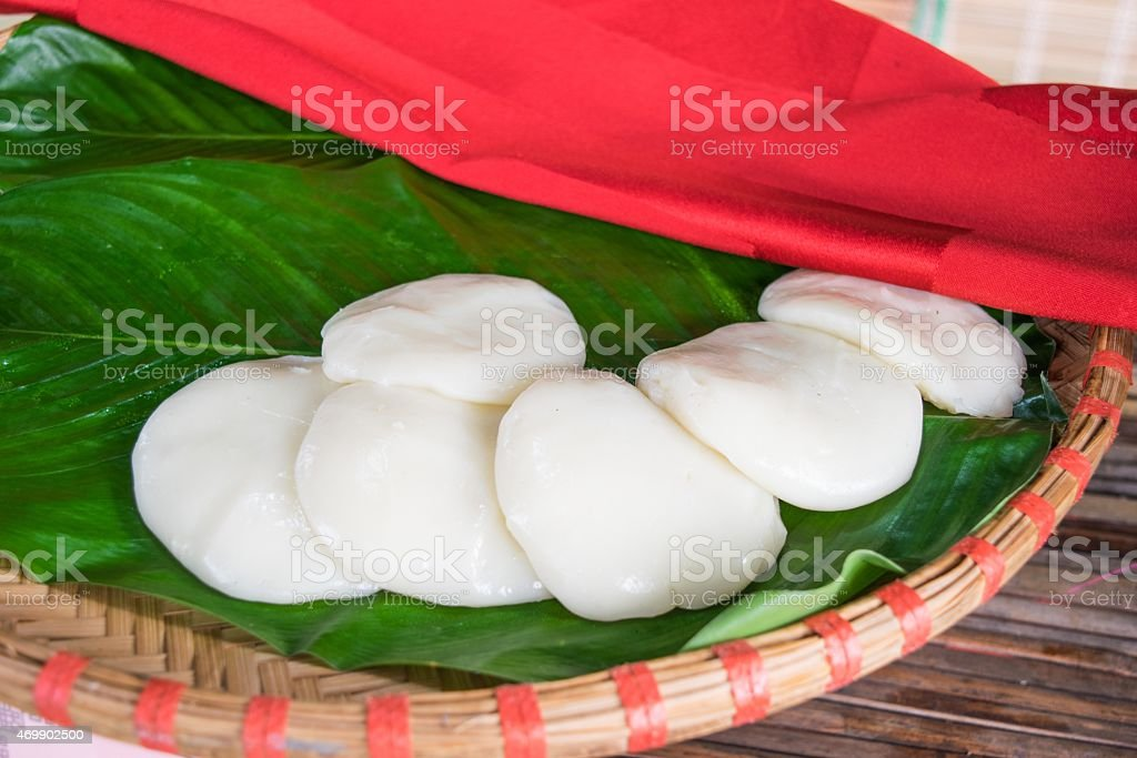 Steamed rice flour cake parking in Vietnam stock photo