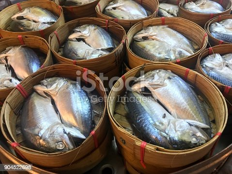 Famous tradition Thai food, steamed fishes in the basket for cooking