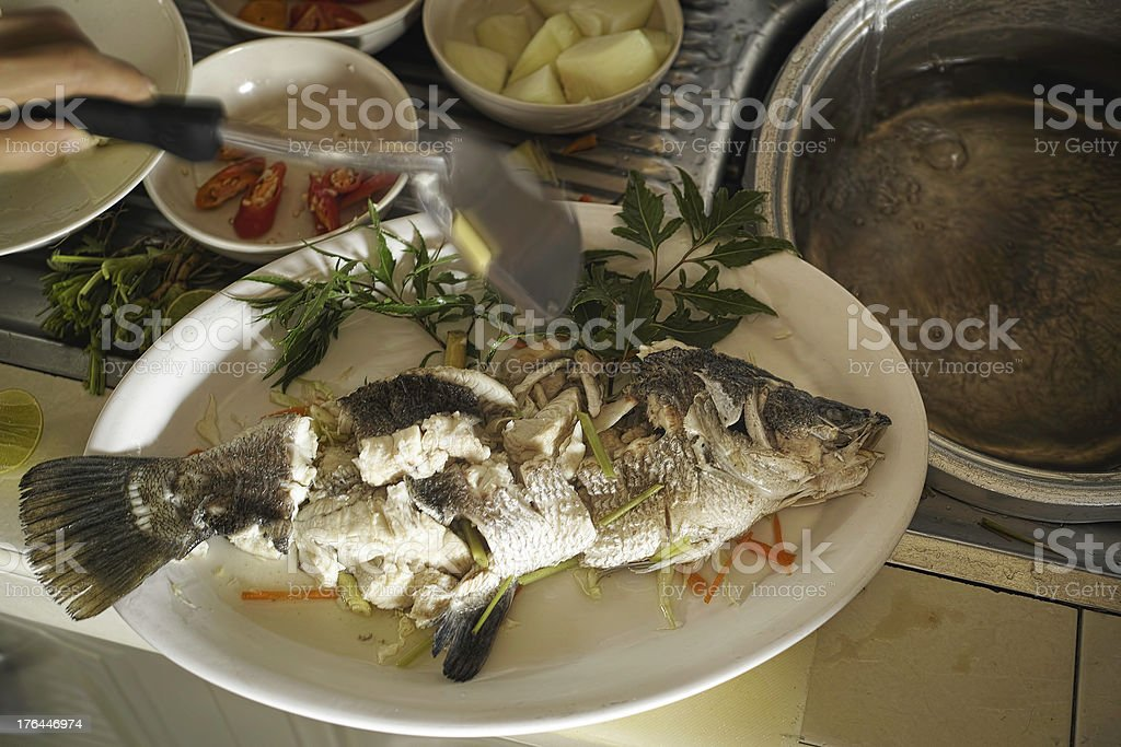 Steamed Sea Bass. royalty-free stock photo