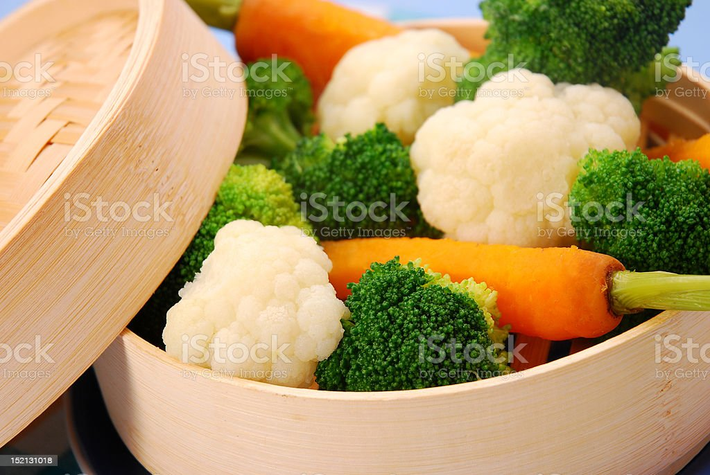 steamed vegetables stock photo