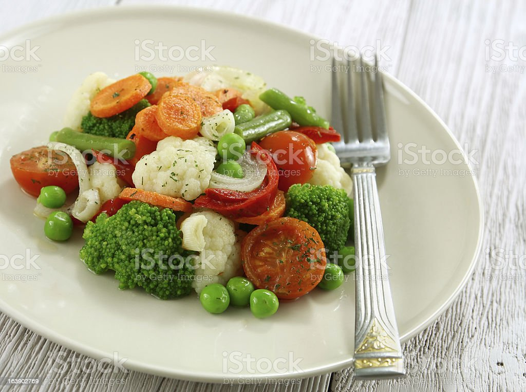 Steamed vegetables. Vegetarian food royalty-free stock photo